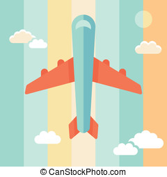 Vector plane illustration in flat style