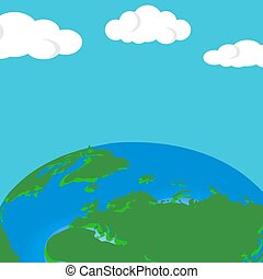 Vector planet Earth. Flat planet Earth. Flat design vector illustration. Vector Earth background with clouds