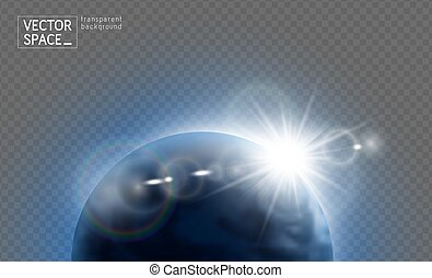 Vector planet Earth with sunrise lens flare in space isolated on transparent background. Blue globe illustration. Sciense astronomy design element