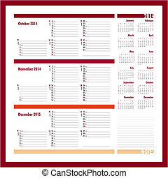 Vector planner for 20134 -Three month calendar