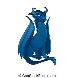 vector, plano, azul, coloreado, dragón, con, alas, cuernos
