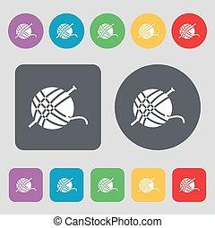 vector, plano, buttons., conjunto, coloreado, icono, signo., hilo, pelota, 12, design.