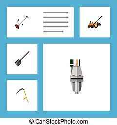 vector, plano, césped, conjunto, elements., dacha, bomba, ...