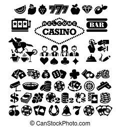 vector, plano, casino, conjunto, iconos