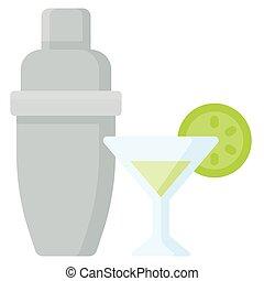 vector, plano, coctelera, ilustración, cóctel, bebida, icono