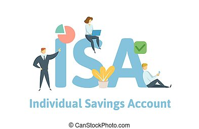 vector, plano, concepto, ahorro, illustration., isa, account., aislado, icons., fondo., individuo, keywords, cartas, blanco