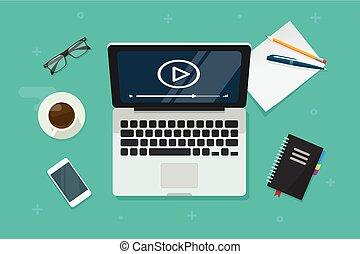 vector, plano, concepto, ilustración, mirar, computador portatil, en línea, webinar, idea, computadora, vídeo, e- aprendizaje, vista, caricatura, pantalla, cima, preceptoral
