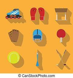 vector, plano, concepto, juego, artículos, eqipment,...