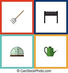 vector, plano, conjunto, tenedor, elements., heno, dacha, ...