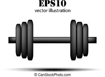 vector, plano de fondo, barra con pesas