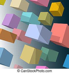 vector, plano de fondo, con, 3d, coloreado, cubos
