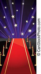 vector, plano de fondo, con, alfombra roja, y, estrellas