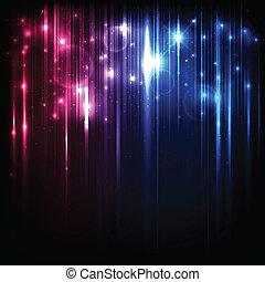 vector, plano de fondo, con, brillante, magia, luces, y, estrellas