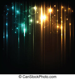 vector, plano de fondo, con, brillante, magia, luces, y,...