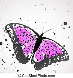 vector, plano de fondo, con, leopardo, mariposa