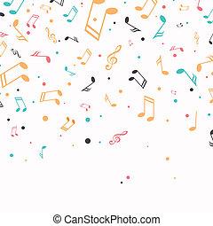 vector, plano de fondo, con, música nota