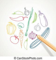 vector, plano de fondo, con, resumen, vegetales