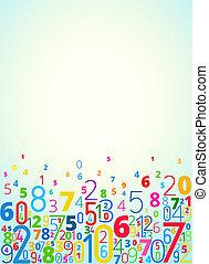vector, plano de fondo, de, números