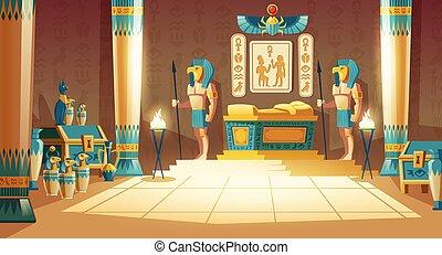 vector, plano de fondo, faraón, caricatura, antiguo, tumba