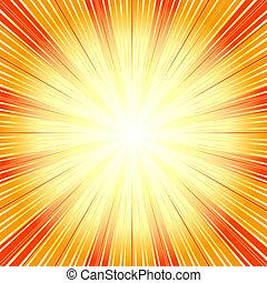 (vector), plano de fondo, resumen, sunburst, naranja