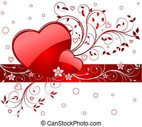 vector, plano de fondo, romántico, ilustración
