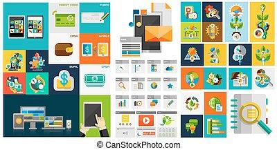 vector, plano, diseñe elementos, diseño telaraña, elementos, botones, iconos