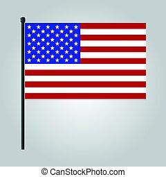 vector, plano, diseño, bandera de los e.e.u.u, icono