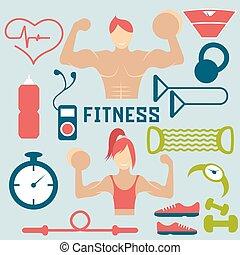 vector, plano, diseño, de, condición física, con, tipo, y, iconos de la tela, de, condición física, elementos