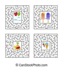 vector, plano, entradas, conjunto, mazes., fondo., laberinto, rompecabezas, conundrum., aislado, ilustración, uno, characters., juego, cuadrado, children., blanco, exit., caricatura, kids.