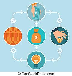 vector, plano, estilo, concepto, crowdfunding