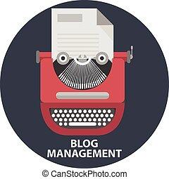 vector, plano, estilo, concepto, vendimia, moderno, manual, ilustración, list.blog, papel, dirección, diseño, elegante, máquina de escribir