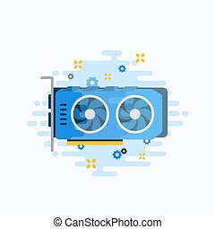 vector, plano, estilo, gráfico, illustration., personal, resumen, o, componente, minería, icons., crypto, hardware, moneda, computadora, vídeo, engranajes, chispas, gpu, template., tarjeta