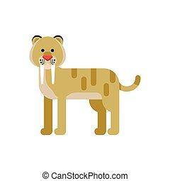 vector, plano, estilo, ilustración, de, animal prehistórico, -, saber-toothed, tiger.