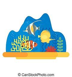 vector, plano, estilo, ilustración, de, barrera coralina, con, fish.