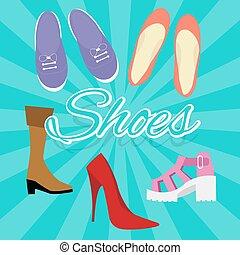 vector, plano, estilo, mujer, shoes, cima, zapatilla, ilustración, alto, conjunto, botas, talones