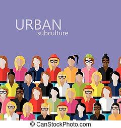 vector, plano, hembra, grupo, ilustración, grande, comunidad
