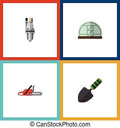 vector, plano, herramienta, elements., también, dacha, bomba...