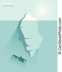 vector, plano, iceberg, concepto, illustration.