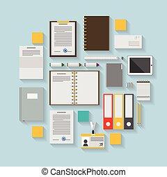 vector, plano, iconos, empresa / negocio, workflow