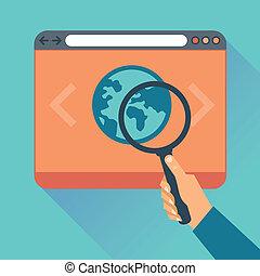 vector, plano, iconos, -, sitio web, código, optimization