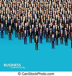 vector, plano, ilustración, de, empresa / negocio, o, política, community., un, cr