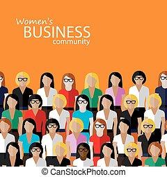 vector, plano, ilustración, de, mujeres, empresa / negocio, community., un, grande, g