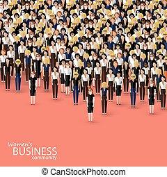 vector, plano, ilustración, de, mujeres, empresa / negocio, community., un, multitud, de