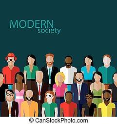 vector, plano, ilustración, de, sociedad, miembros, con, un, grupo grande
