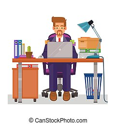 vector, plano, ilustración, de, un, hombre, trabajo encendido, el, computadora