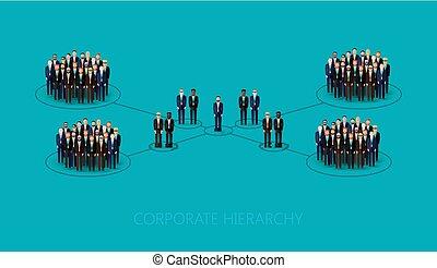 vector, plano, ilustración, de, un, jerarquía corporativa,...