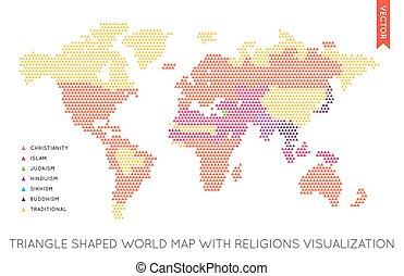 vector, plano, mapa del mundo, infographic., mapa, de, el, world.