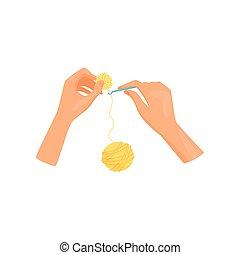 vector, plano, pelota, theme., amarillo, brillante, mujer, diseño, ocio, crochet., manos, pasatiempo, knits, yarn.
