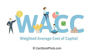 vector, plano, wacc, coste, illustration., promedio, aislado...