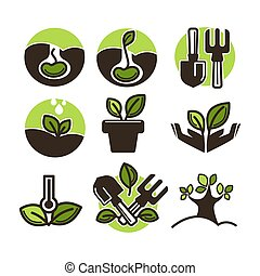 Vector plant and tree sprout vector icons set for gardening...